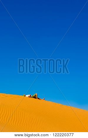 Person in desert. landscape with blue sky