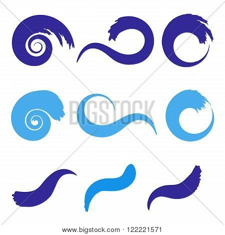 Sea waves set. Sea wave icons. Sea wave vector. Sea waves illustration. Curve sea waves