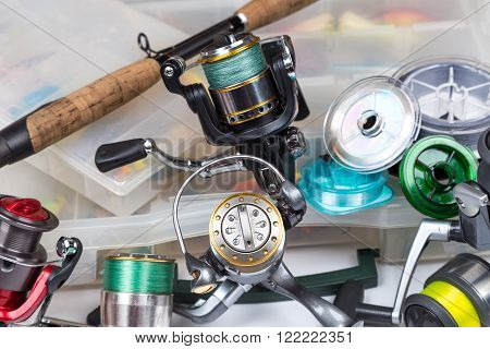 Fishing Tackles In Storage Box