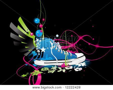 varicolored vector background with sneakers, gym-shoes