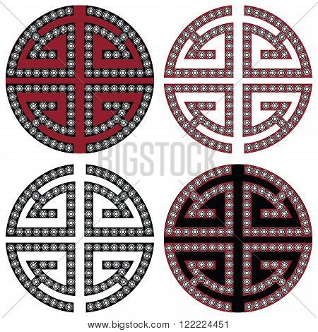 Traditional geometric Oriental Korean symmetrical wealth  zen symbols in black, white and red with diamonds element in tattoo style