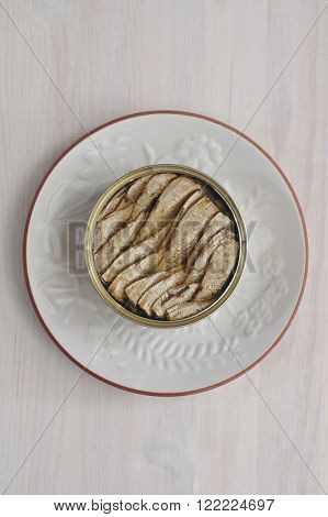 Canned sprats. Traditional food for baltic countries. Popular export commodity of Latvia. View from top.