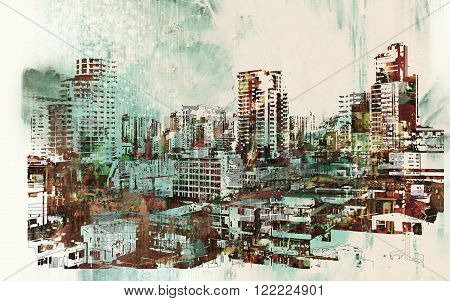 cityscape with abstract textures, illustration digial painting