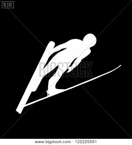 Jumping skier silhouette on black background. Winter Sport.