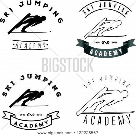 Set of logos with jumping skier silhouette. Winter Sport logotype.
