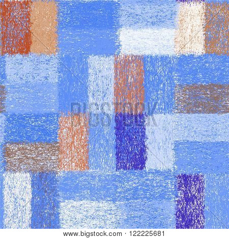 Seamless pattern with weave grunge striped quilt rectangular elements for plaidcarpetcloth in bluewhite brown colors