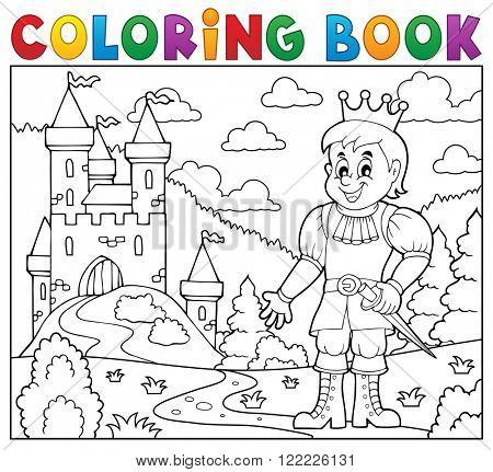 Coloring book prince near castle - eps10 vector illustration.