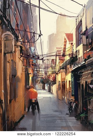 painting of narrow alleyway in old town