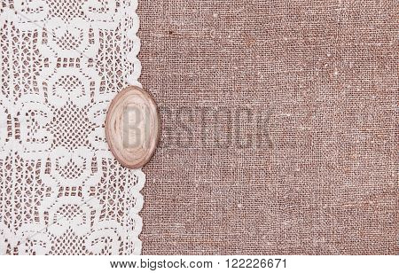 Vintage Background With Lace On The Burlap