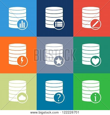 Database Icon, Line Icons Set Of Database And Technology. Database Vector Icon. Modern Color Flat De