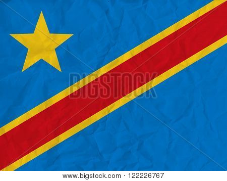 Vector image of the Democratic Republic of Congo  paper  flag