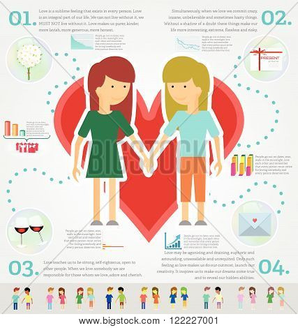 Love marriage couple of two women/girls infographic set. Same-sex marriage