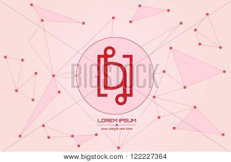 Abstract concept creative vector letter D. Colorful app logo icon element isolated on background. Art illustration creative template design for business software sign and social media lined symbol.