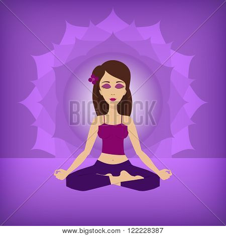 An editable flat vector illustration of Yoga lotus pose on a violet background