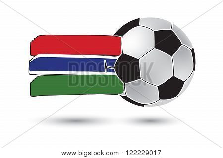Soccer Ball And Gambia Flag With Colored Hand Drawn Lines