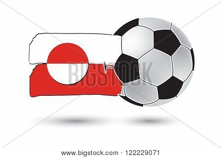 Soccer Ball And Greenland Flag With Colored Hand Drawn Lines