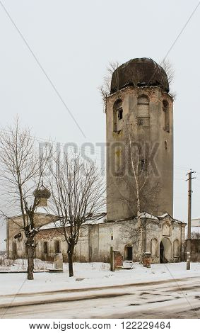 Novaya Ladoga, Russia - 23 February, The tower of the old church, 23 February 2016. Tourist places in the great ancient route from the Vikings to the Greeks.Church Clement of Rome and Peter of Alexandria. Gold ring of Russia.