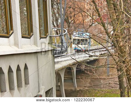KYIV, UKRAINE - MARCH 13, 2016: Kyiv Funicular or Mechanical Lift that carrying passengers on a steep slope and connects two different levels of Kyiv. Exploited since 1905