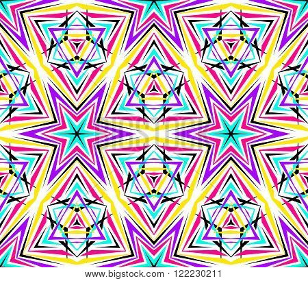 Kaleidoscope Abstract Flower Pattern. Vibrant geometric background. Fashionable graphic print. Decorative star flowers. Neon colors, psychedelic design. Colorful geometric ornament. Vector background.