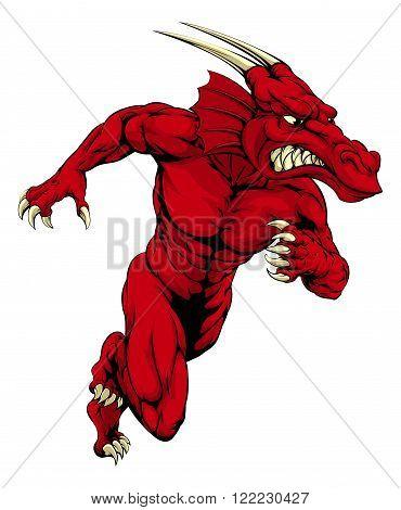 Red Dragon Mascot Sprinting