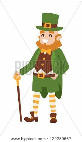 St. Patricks Day Leprechaun. St. Patricks Day cartoon style Leprechaun. St. Patricks Day irish man in leaf and hat isolated on white background
