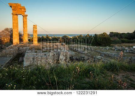 Acropolis Of Rhodes Island In Greece