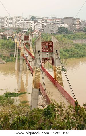 Rural landscape with a bridge across Yangtze river