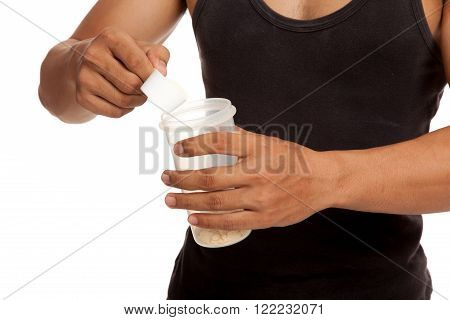 Muscular Asian Man Eat Whey Protein Shakes