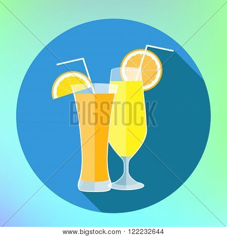 Juice glass icon. Flat icon with long shadow. Vector illustration. Orange and lemon juice flat long shadow style vector icon. Vector orange juice in glass with straw and orange slice