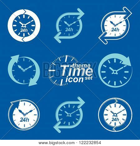 Set Of Graphic Web Vector 24 Hours Timers, Around-the-clock Flat Invert Pictograms. Day-and-night In