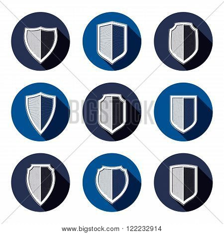 Set Of Stylized Coat Of Arms, Decorative Defense Shields Collection. Heraldic Vector Symbols, Protec