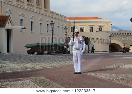Monaco, Monaco - May 19: This is hour guard near the Palace of the Princes May 19, 2015 in Monaco, Monaco.