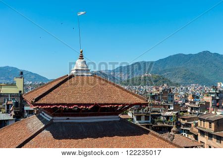 Kathmandu, Nepal, 5th March 2015. View of Kathmandu Cityscape from a roof at Durbar Square one month before 2015 Earthquake.