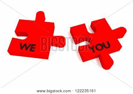 Red Puzzle we and you on white background
