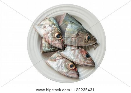 Raw fresh fishes head on ceramic plate isolated on white background.
