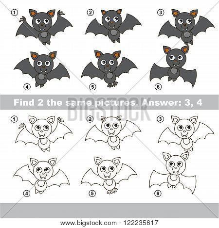 The design difference.  Vector visual game for children. Task and answer. Find two similar Vampire Bats