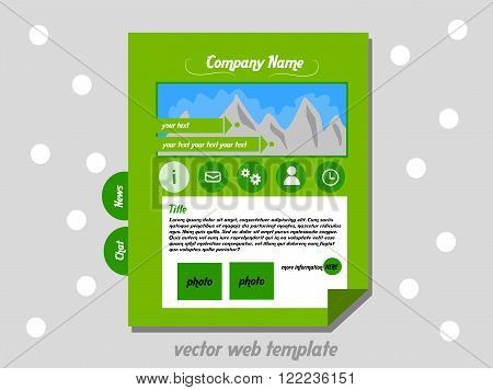 Pure flat designed web template suitable for company