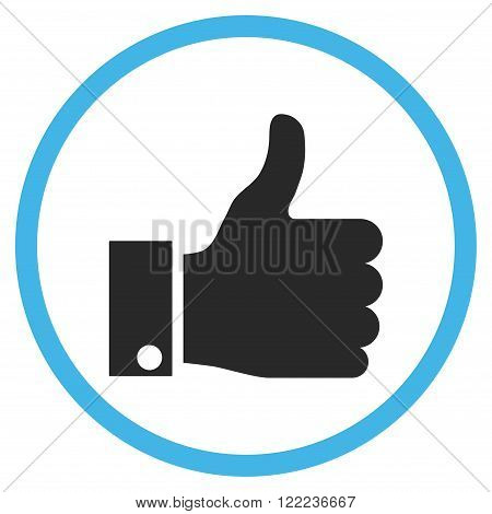Thumb Up vector bicolor icon. Image style is a flat icon symbol inside a circle, blue and gray colors, white background.