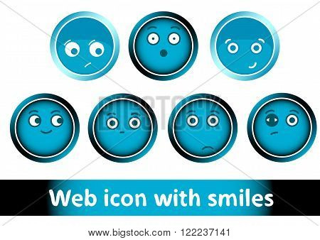Clipart with icons buttons of blue color with smiles