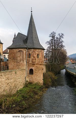 Schlaghaus is building included in historic fortifications of the Budingen Germany