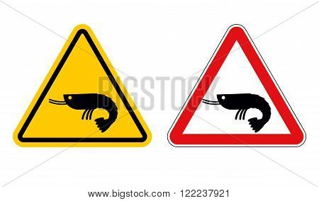 Warning Sign Attention Shrimp. Hazard Yellow Sign Marine Plankton. Shrimp On Red Triangle. Set Of Ro