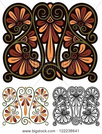 Abstract decorative design inspired by traditional greek motifs and art nouveau.