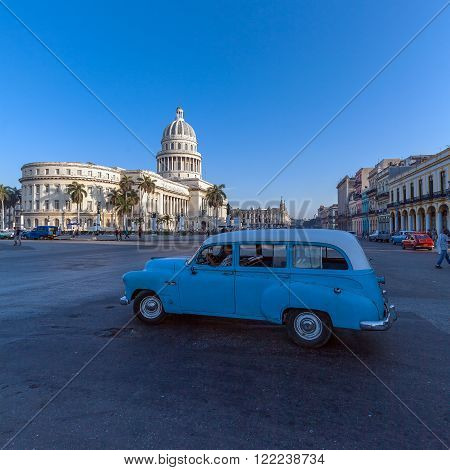 Havana, Cuba - April 2, 2012: Heavy Traffic With Vintage Cars