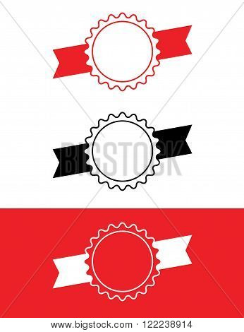 Vector ribbon badge set in red, black and reverse
