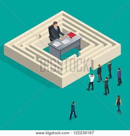 Bureaucrat in the maze. People stand in a queue. Bureaucracy concept. Flat 3d vector isometric illustration