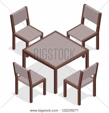 Wooden Table with chairs for cafes. Modern table and chairs on white background. Flat 3d isometric vector illustration
