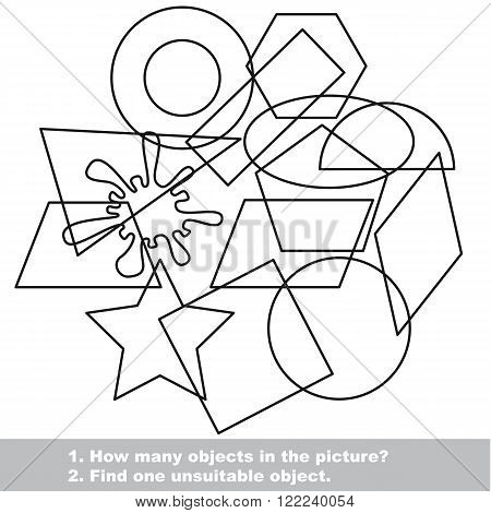 Geometric shapes set mishmash set in vector outlined to be colored.  Find all hidden objects on the picture. Visual game for children.