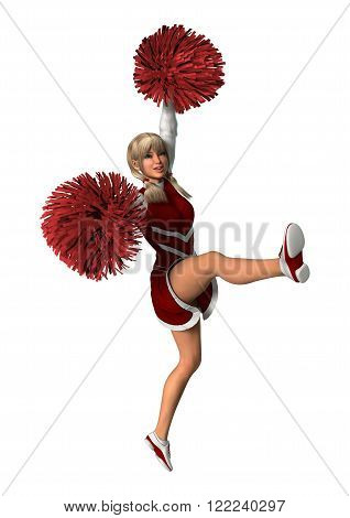 3D digital render of a young cheerleader with pompoms isolated on white background