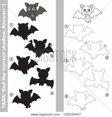 Vampire Bat with different shadows to find the correct one. Compare and connect object with it true shadow. Visual game for children.