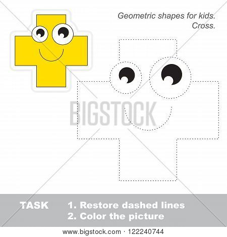 Cross in vector to be traced. Restore dashed line and color the picture. Trace game for children.